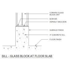 Glass Block At Floor Slab CAD Detail