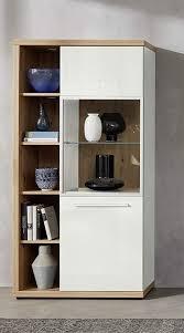 trendteam smart living wohnzimmer highboard schrank vitrine odino 84 x 167 x 38 cm front weiß hochglanz korpus asteiche mit viel stauraum