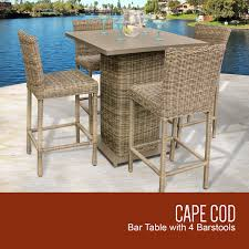Vintage Stone Cape Cod Pub Table Set With Barstools 5 Piece Outdoor Wicker Patio Furniture