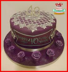 purple silver 40th birthday cake