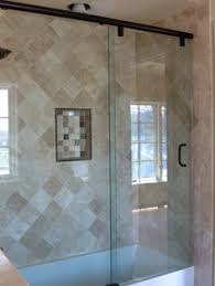 semi frameless bypass shower door with end return panel oil