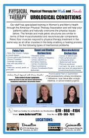 Pelvic Floor Dysfunction Symptoms Constipation by Physical Therapy For Urological Conditions Anderson Physical