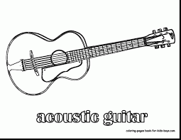 Terrific Acoustic Guitar Coloring Pages With And Electric Printable