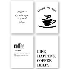 details zu 4er set kaffee wandbild bild poster kunstdruck a4 küche esszimmer deko coffee