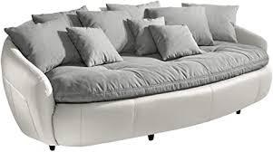 mivano megasofa aruba großes big sofa mit kissen 238 x 80 x 140 materialmix weiß grau
