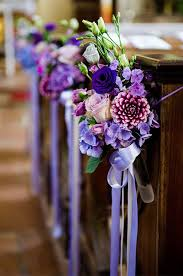 Lavender Ribbon Tied Around A Flowers Can Be An Elegant Addition To The Church Pews At
