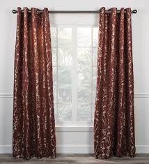 Jacobean Style Floral Curtains by Meadow Open Floral Print Lined Grommet Top Panel Window Curtain