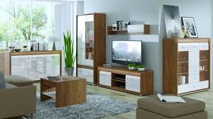 wohnzimmer komplett set b tempe 6 teilig farbe nussfarben weiß hochglanz fronteinsatz nussfarben