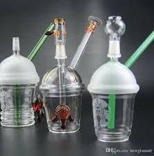 Mini Starbucks Cup Cheapest Glass Water Pipes Bong Pipe With Dome And Nail