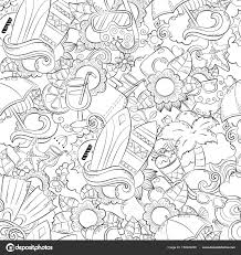 Seamless Abstract Vector Doodle Background Summer Cartoon Wallpaper Comic Pattern Anti Stress Coloring