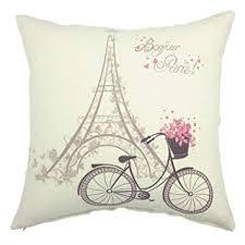 YOUR SMILE Paris Rustic Cycle Cotton Linen Square Cushion Covers Throw Pillow Decorative 18