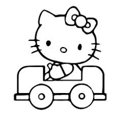Hello Kitty Traveling In A Car Printable Sheet