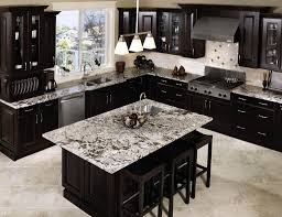 Deluxe Dark Kitchen Cabinet Inspiration With Island And Marble Top