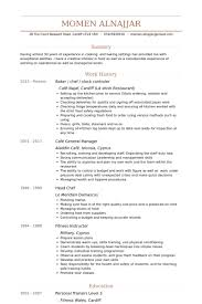 Baker Chef Stock Controler Resume Samples Work Experience