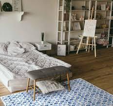 vinylteppich schlafzimmer wasserhaus blau
