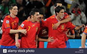 100 Torres Villa Spains David 7 Celebrates Scoring The 10 With Teams Stock