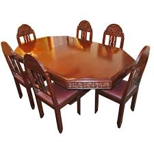 Unique Art Deco French Carved Dining Table With Chairs For Sale