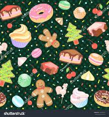 Christmas Tree Meringues by Dessert Seamless Vector Pattern Cake Christmas Tree Stock Vector