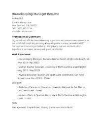 Sample Resume For Housekeeping Supervisor Hospital