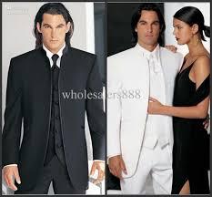 custom groomsmen black white groom tuxedos mandarin lapel