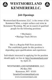 Job Openings, Westmoreland Kemmerer LLC, Kemmerer, WY Trucking Driving Jobs Openings Expected To Rise Quickly Home Inexperienced Truck Roehljobs Oats Transit On Twitter Looking For A New Career Our Driver Driverless Cars Will Kill The Most Jobs In Select Us States The Future Of Uberatg Medium Logistics Services Driver Evansville In Baltimore Maryland Md Contracting Dump Drivers Cdl Class A Louisville Ky Job Westmoreland Kemmer Llc Wy Entrylevel No Experience Opportunities In Qatar Airways Free Visa Ticket Gulf Recruitment For Uae L Urgent Requirement Dubai Techniclan