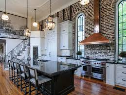 KitchenFabulous Classic Kitchen Idea With High Brick Wall And Gleaming Black Countertop Exposed