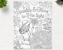 Coloring Page Printable Bible Verse Sparkle And Shine In His Light Instant Download Kids Pages