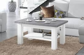 design couchtisch tisch astoria beton betonoptik weiß matt stufenlos höhenverstellbar 57 69cm ausziehbar 110 150cm mit ablagefläche esstisch