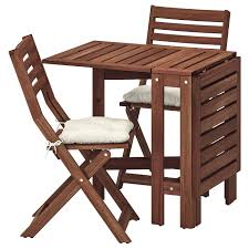 ÄPPLARÖ Table+2 Folding Chairs, Outdoor - Brown Stained, Kuddarna Beige