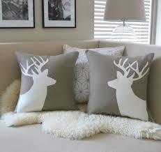 Deer Pair Decorative Pillow Covers Sand Beige Cream Applique Buck Silhouettes 18x18