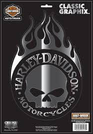 Harley DavidsonR Willie GR Skull With Flames Decal