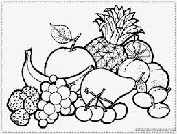 Fruit Coloring Pages Fruits And Vegetables Of In A Bowl