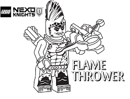 LEGO Nexo Knights Coloring Page Flame Thrower Printable Color Sheet