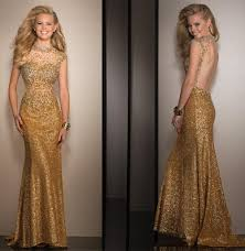 bateau neck sheer diamond beaded evening gown long new design gold