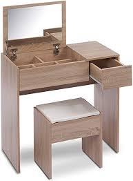 ts ideen schminktisch frisiertisch frisierkommode schminkkommode schlafzimmer kommode mit aufklappbarem spiegel schublade und gepolstertem hocker in