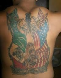 Mexican American Flag Draw Leg Tattoos Women