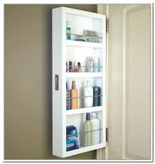 behind door storage cabinet with full length mirror over the door