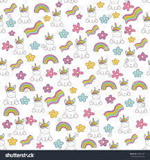 Seamless Baby Pattern With Cute Unicorn Rainbow Flower Best Choice For Cards