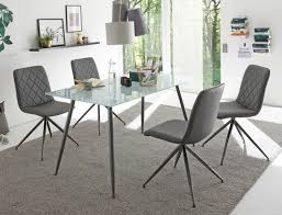 6x polsterstuhl elina kunstleder grau gestell metall esszimmerstuhl