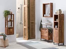 woodkings badmöbel set sydney 4teilig massiv holz badezimmer schränke schmal für kleines bad hochschrank regal waschbeckenunterschrank spiegel