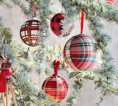 Plaid Fabric Ball Ornament