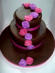 Chocolate Birthday Cakes With Flowers