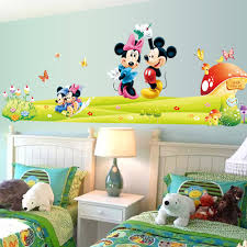 Mickey Mouse Bathroom Wall Decor aliexpress com buy mickey mouse minnie mouse wall sticker