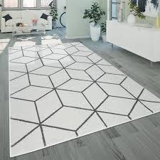 wohnzimmer teppich kurzflor im skandi stil mit rauten muster in weiß