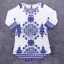 new women long sleeve blue and white vintage porcelain flower