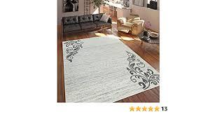 paco home teppich wohnzimmer modern kurzflor mehrfarbig muster floral ornament creme grösse 60x100 cm