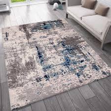 teppich abstrakt vintage look wohnzimmer kurzflor teppich läufer blau vimoda homestyle