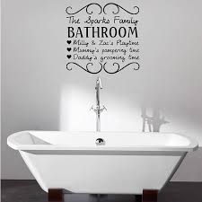 Guest Bathroom Wall Decor With Stickers Above Freestanding Bathtub