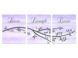 Purple Wall Art Decor Live Laugh Love Bathroom Wood Effect