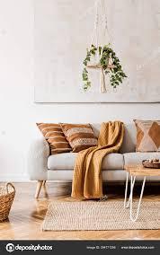 das design boho interieur des wohnzimmers gemütlicher